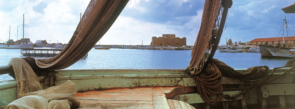 View from a fishing boat of Paphos port.